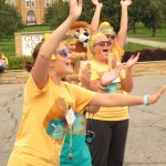 As is tradition at Gustavus, the Gustie Greeters welcome first-year students to campus on College Avenue.