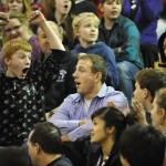 Mark Elfstrom '01 reacting to the news that he was the recipient of 2011 Milken Educator Award during a Romig Middle School assembly. (Photo by Marc Lester, Anchorage Daily News)