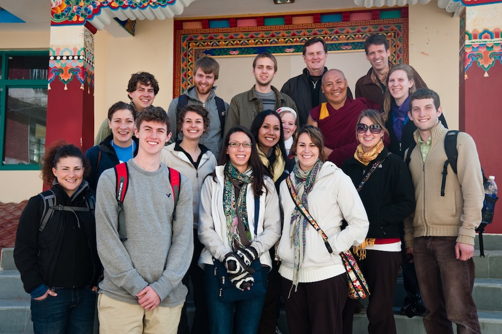 Curtin, Gustavus students, and Geshe Lhakdor during a previous study abroad trip.