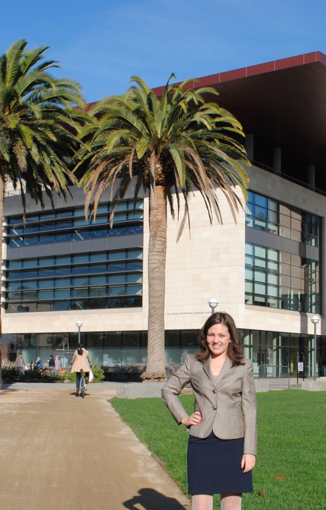 Broady standing outside the Li Ka Shing Center for Learning and Knowledge at Stanford University's School of Medicine.