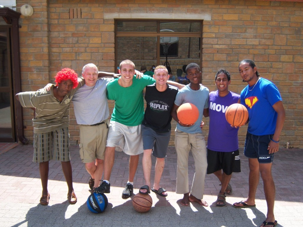 Retired professor John Clementson (second from left) and Matuseski (third from left) at Africa Jam Camp in Capetown, South Africa in 2009.