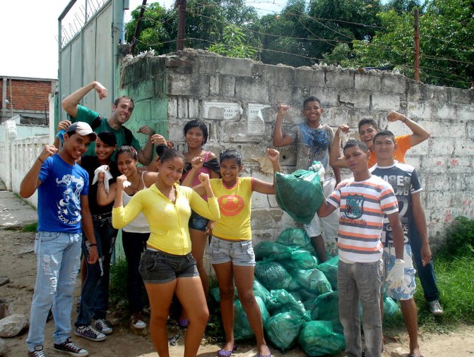 Matuseski works with youth in Colombia on a community service project.
