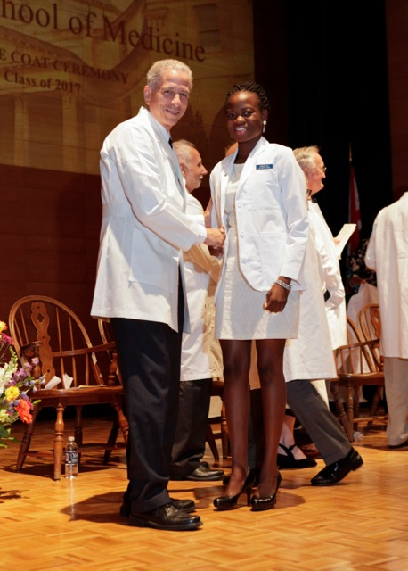 Jaji at Yale's traditional White Coat Ceremony.