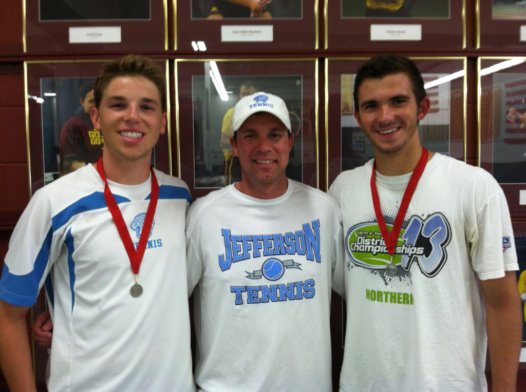 Hupton (middle) is the head boys' tennis coach at Bloomington Jefferson High School.